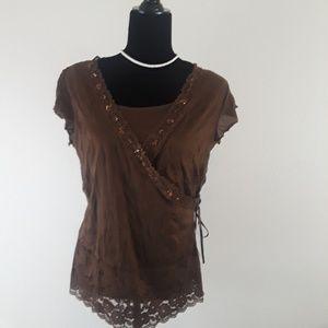 VOL.1 Women's  Brown  Wrap Top Size XL w/ Sequin d
